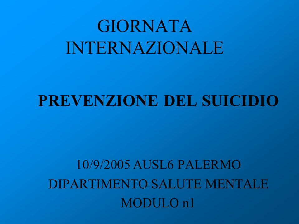 GIORNATA INTERNAZIONALE PREVENZIONE DEL SUICIDIO 10/9/2005 AUSL6 PALERMO DIPARTIMENTO SALUTE MENTALE MODULO n1