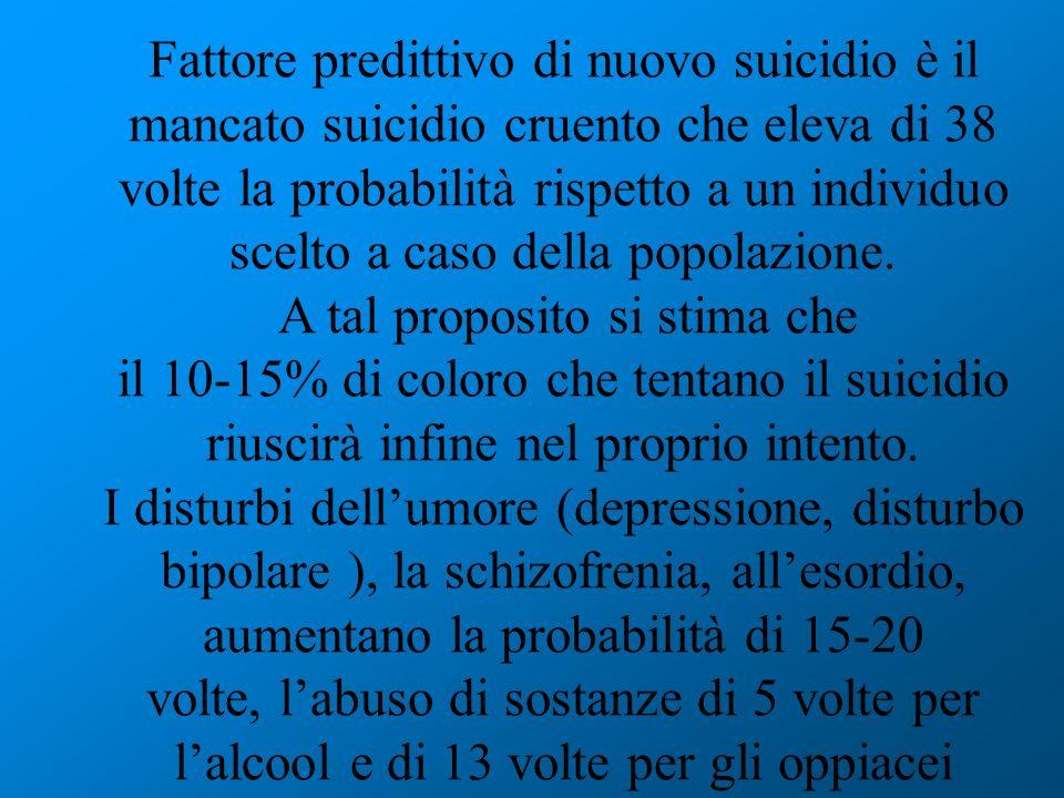 Fattore predittivo di nuovo suicidio è il mancato suicidio cruento che eleva di 38 volte la probabilità rispetto a un individuo scelto a caso della po