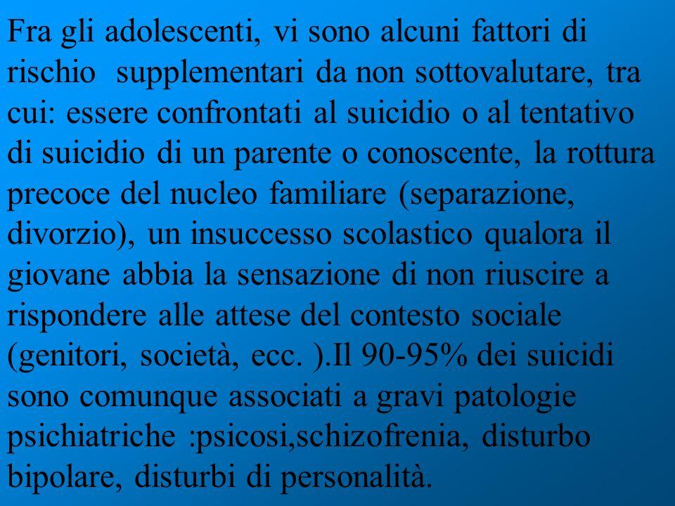 Fra gli adolescenti, vi sono alcuni fattori di rischio supplementari da non sottovalutare, tra cui: essere confrontati al suicidio o al tentativo di s
