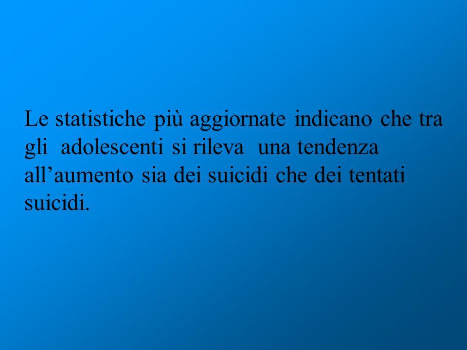 Le statistiche più aggiornate indicano che tra gli adolescenti si rileva una tendenza allaumento sia dei suicidi che dei tentati suicidi.