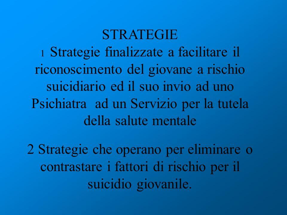 STRATEGIE 1 Strategie finalizzate a facilitare il riconoscimento del giovane a rischio suicidiario ed il suo invio ad uno Psichiatra ad un Servizio pe