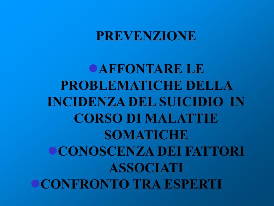 PREVENZIONE AFFONTARE LE PROBLEMATICHE DELLA INCIDENZA DEL SUICIDIO IN CORSO DI MALATTIE SOMATICHE CONOSCENZA DEI FATTORI ASSOCIATI CONFRONTO TRA ESPE