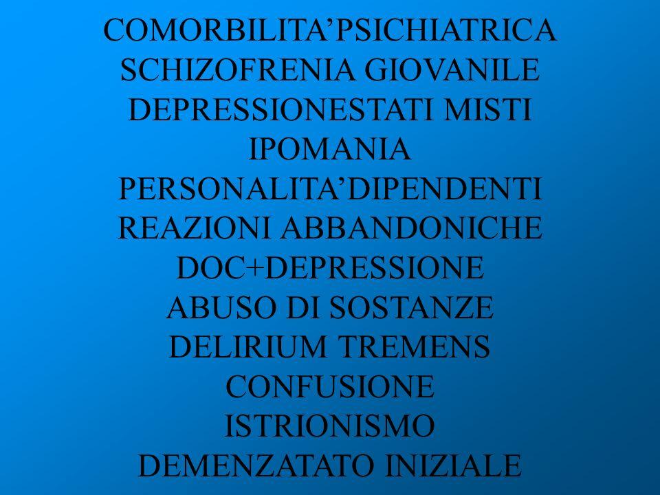 COMORBILITAPSICHIATRICA SCHIZOFRENIA GIOVANILE DEPRESSIONESTATI MISTI IPOMANIA PERSONALITADIPENDENTI REAZIONI ABBANDONICHE DOC+DEPRESSIONE ABUSO DI SO