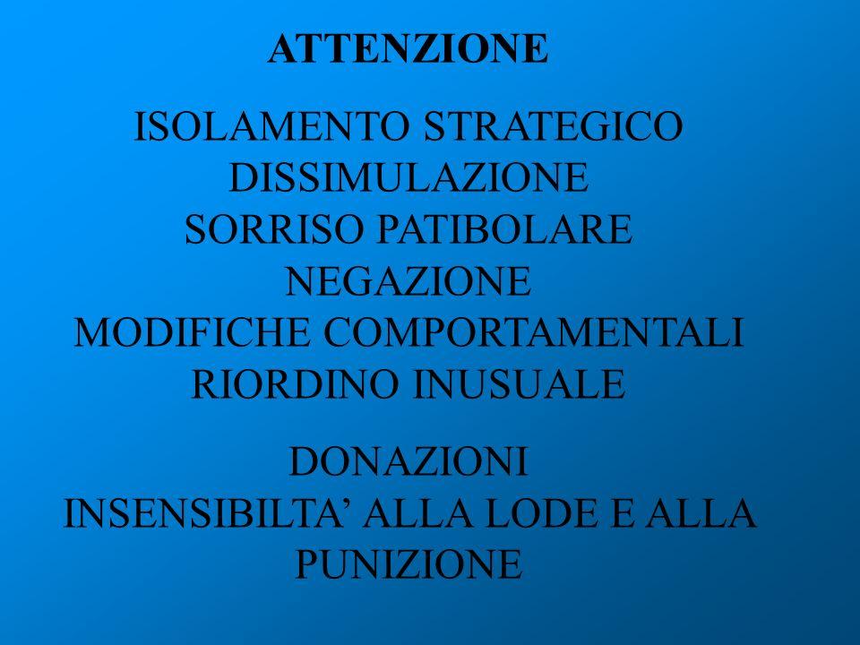 ATTENZIONE ISOLAMENTO STRATEGICO DISSIMULAZIONE SORRISO PATIBOLARE NEGAZIONE MODIFICHE COMPORTAMENTALI RIORDINO INUSUALE DONAZIONI INSENSIBILTA ALLA L