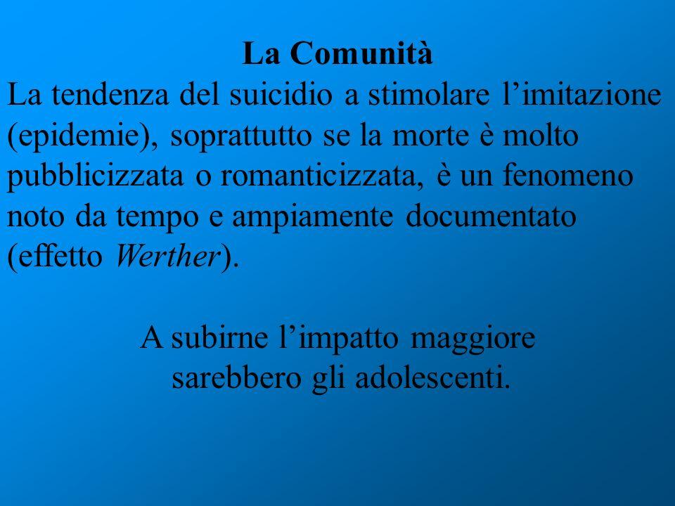 La Comunità La tendenza del suicidio a stimolare limitazione (epidemie), soprattutto se la morte è molto pubblicizzata o romanticizzata, è un fenomeno