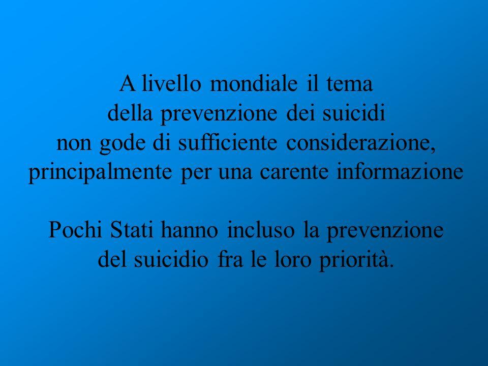 In Italia la prevenzione al suicidio è inserita nel progetto obbiettivo per la salute mentale, sia nazionale che regionale, ma senza finanziamenti e veri programmi La prevenzione richiede interventi anche fuori dal campo sanitario, coinvolgendo in un contesto multidisciplinare il settore delleducazione, le organizzazioni di volontariato, la polizia e la giustizia, i movimenti politici e religiosi