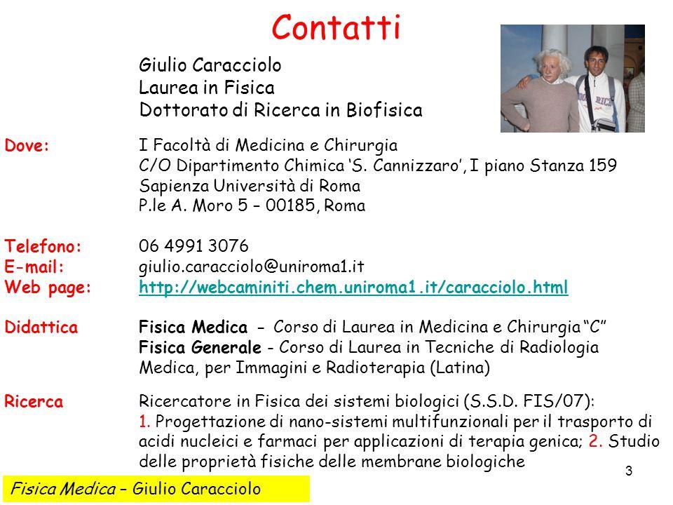 4 Il programma del corso Fisica Medica – Giulio Caracciolo 1.