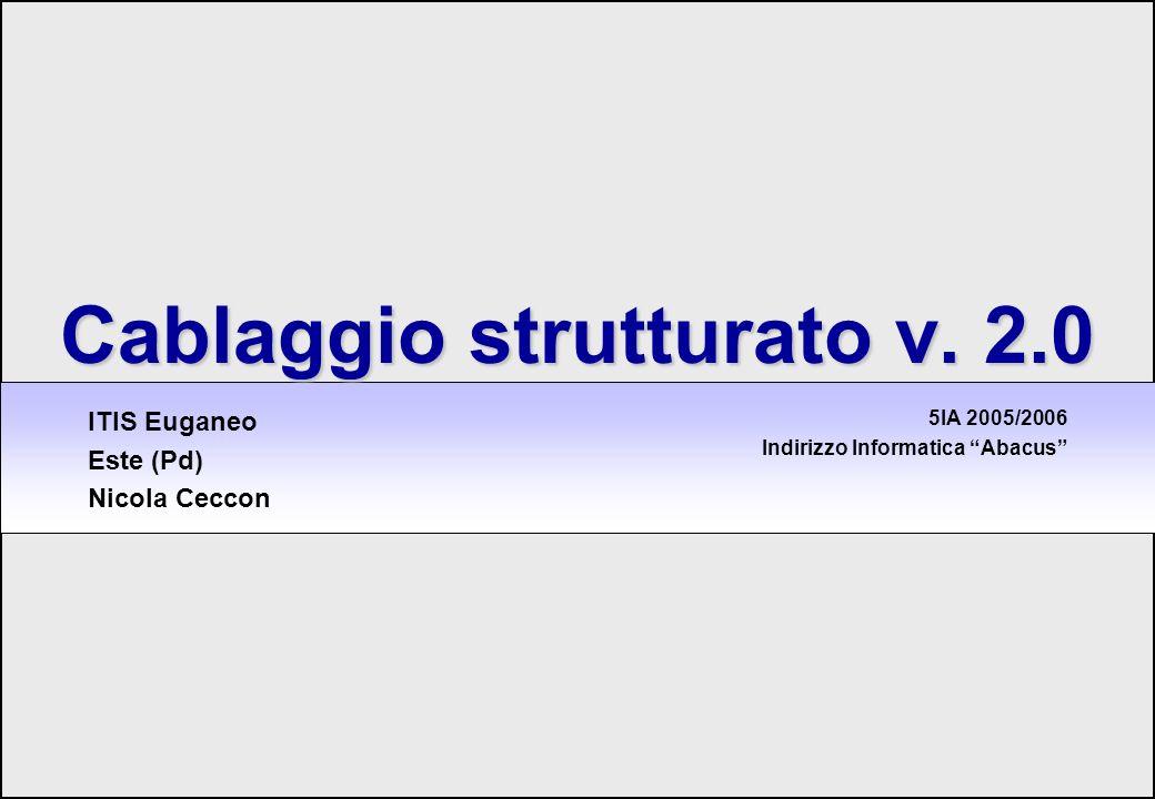 1 Cablaggio strutturato Cablaggio strutturato v. 2.0 5IA 2005/2006 Indirizzo Informatica Abacus ITIS Euganeo Este (Pd) Nicola Ceccon