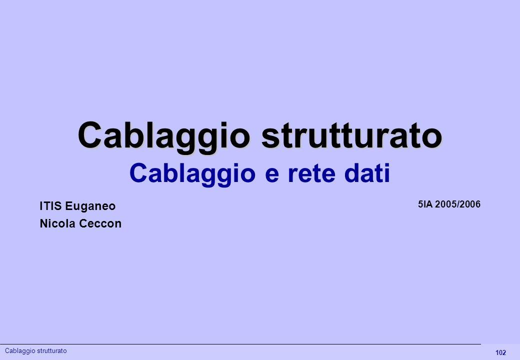 102 Cablaggio strutturato Cablaggio e rete dati 5IA 2005/2006 ITIS Euganeo Nicola Ceccon Cablaggio strutturato