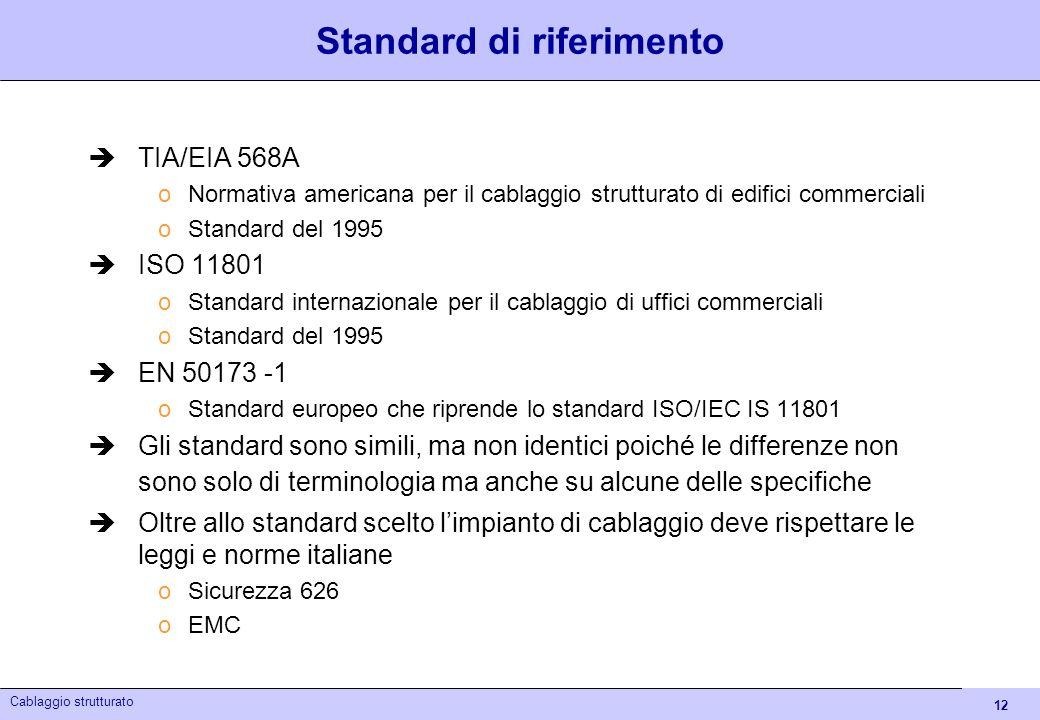 12 Cablaggio strutturato Standard di riferimento TIA/EIA 568A oNormativa americana per il cablaggio strutturato di edifici commerciali oStandard del 1