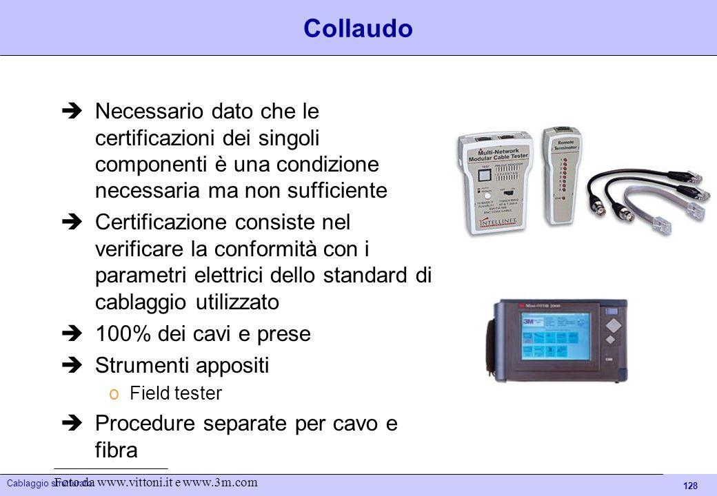 128 Cablaggio strutturato Collaudo Necessario dato che le certificazioni dei singoli componenti è una condizione necessaria ma non sufficiente Certifi