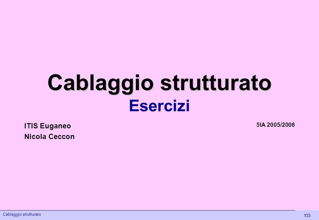 133 Cablaggio strutturato Esercizi 5IA 2005/2006 ITIS Euganeo Nicola Ceccon Cablaggio strutturato