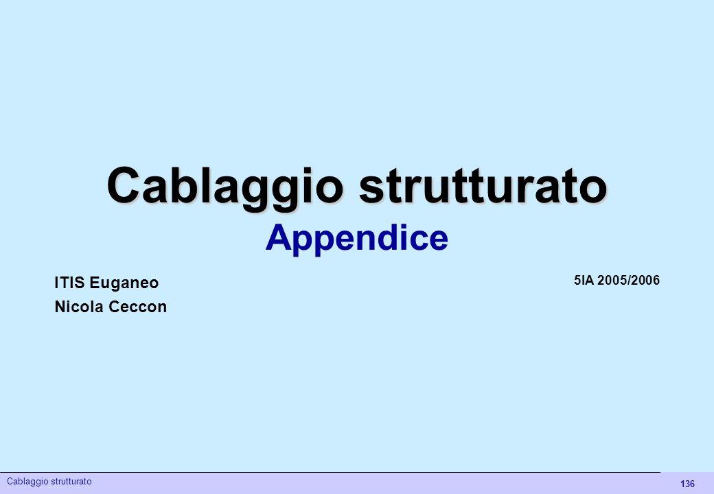 136 Cablaggio strutturato Appendice 5IA 2005/2006 ITIS Euganeo Nicola Ceccon Cablaggio strutturato
