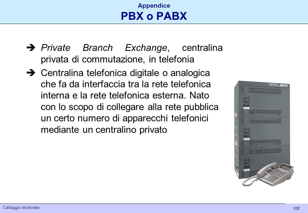 137 Cablaggio strutturato Appendice PBX o PABX Private Branch Exchange, centralina privata di commutazione, in telefonia Centralina telefonica digital