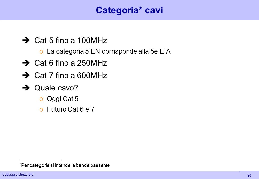 20 Cablaggio strutturato Categoria* cavi Cat 5 fino a 100MHz oLa categoria 5 EN corrisponde alla 5e EIA Cat 6 fino a 250MHz Cat 7 fino a 600MHz Quale