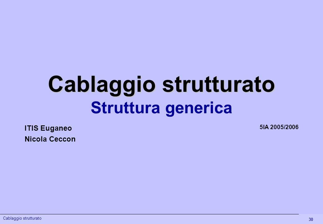 30 Cablaggio strutturato Struttura generica 5IA 2005/2006 ITIS Euganeo Nicola Ceccon Cablaggio strutturato