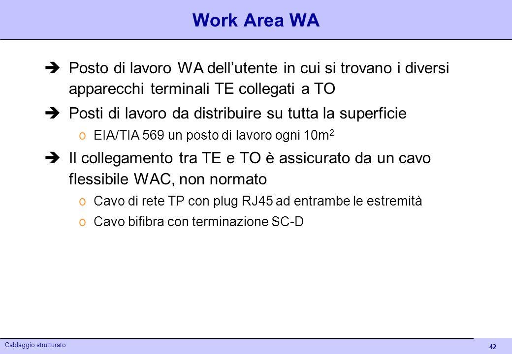 42 Cablaggio strutturato Work Area WA Posto di lavoro WA dellutente in cui si trovano i diversi apparecchi terminali TE collegati a TO Posti di lavoro