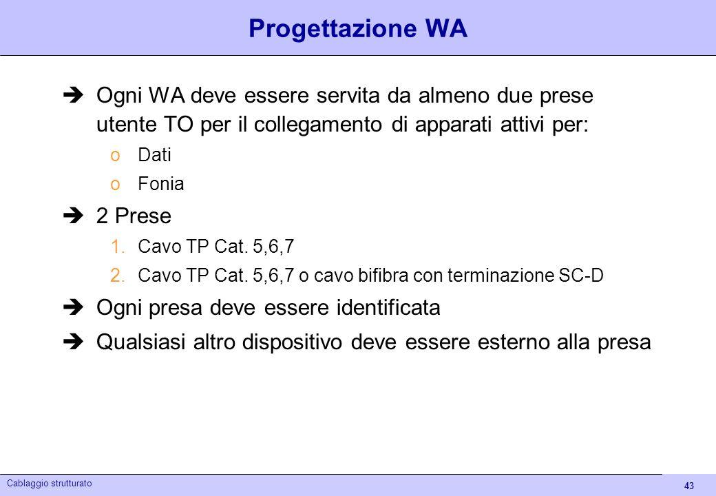 43 Cablaggio strutturato Progettazione WA Ogni WA deve essere servita da almeno due prese utente TO per il collegamento di apparati attivi per: oDati