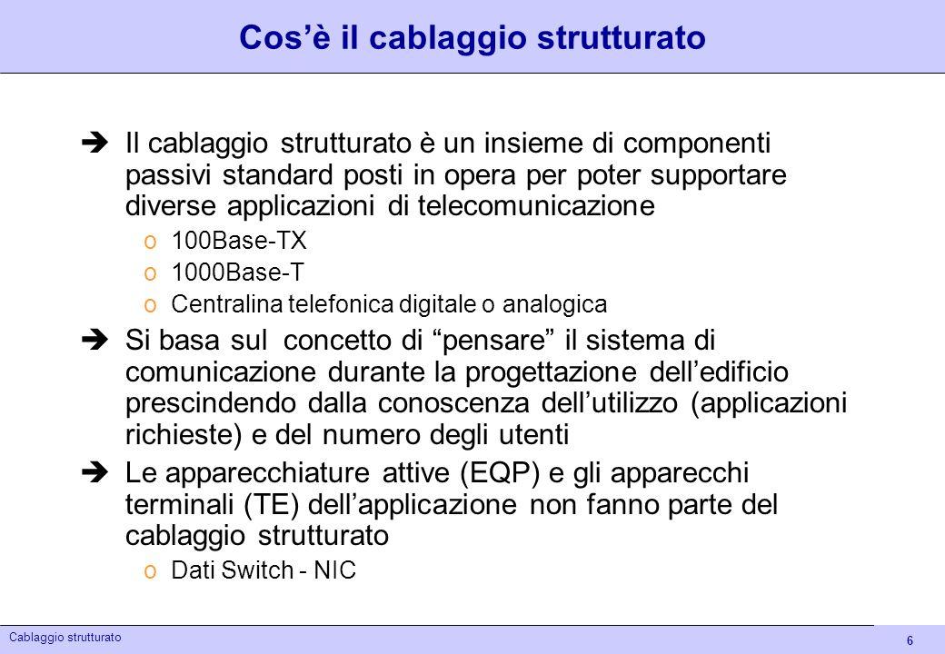6 Cablaggio strutturato Cosè il cablaggio strutturato Il cablaggio strutturato è un insieme di componenti passivi standard posti in opera per poter su