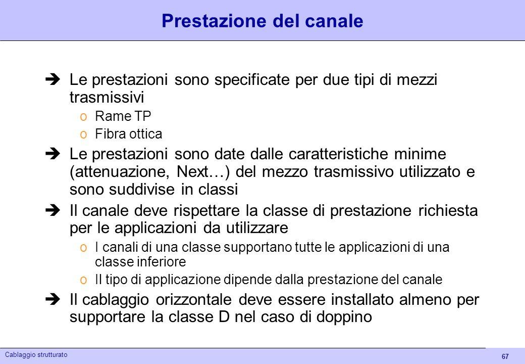 67 Cablaggio strutturato Prestazione del canale Le prestazioni sono specificate per due tipi di mezzi trasmissivi oRame TP oFibra ottica Le prestazion