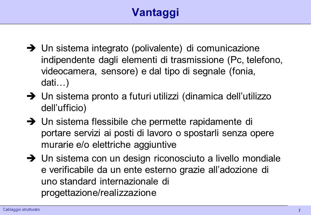 7 Cablaggio strutturato Vantaggi Un sistema integrato (polivalente) di comunicazione indipendente dagli elementi di trasmissione (Pc, telefono, videoc