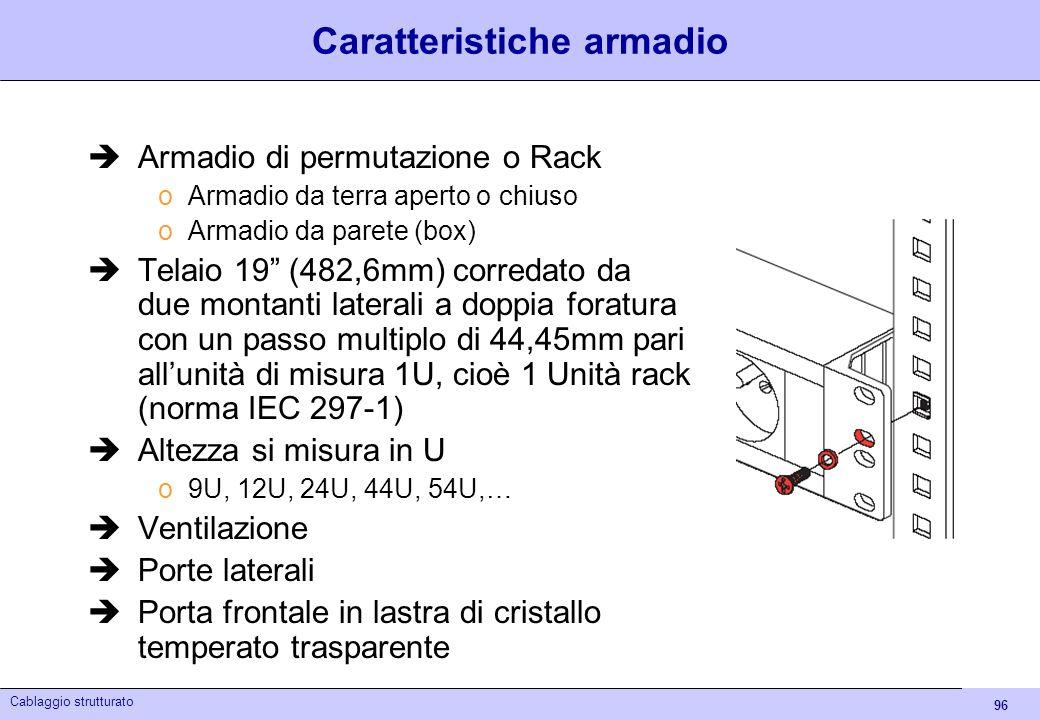 96 Cablaggio strutturato Caratteristiche armadio Armadio di permutazione o Rack oArmadio da terra aperto o chiuso oArmadio da parete (box) Telaio 19 (