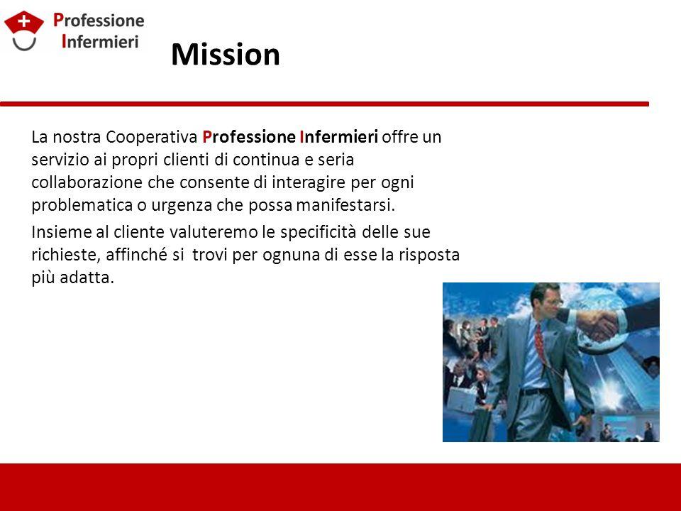 Mission La nostra Cooperativa Professione Infermieri offre un servizio ai propri clienti di continua e seria collaborazione che consente di interagire