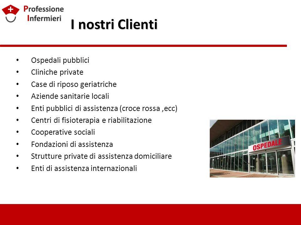 I nostri Clienti I nostri Clienti Ospedali pubblici Cliniche private Case di riposo geriatriche Aziende sanitarie locali Enti pubblici di assistenza (