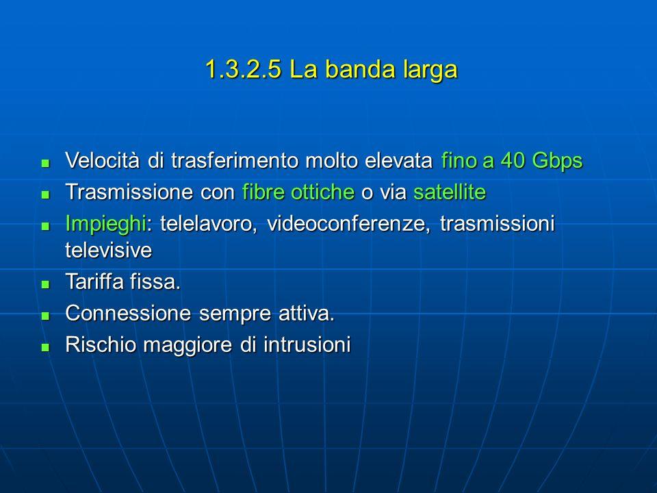 1.3.2.5 La banda larga Velocità di trasferimento molto elevata fino a 40 Gbps Velocità di trasferimento molto elevata fino a 40 Gbps Trasmissione con