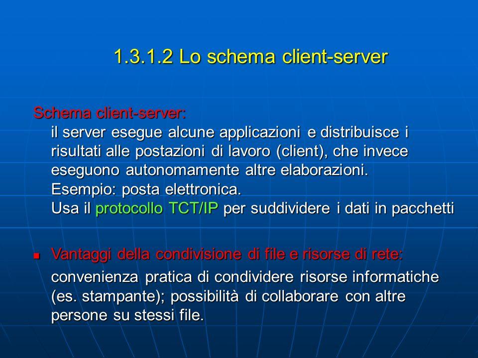 1.3.1.2 Lo schema client-server Schema client-server: il server esegue alcune applicazioni e distribuisce i risultati alle postazioni di lavoro (clien