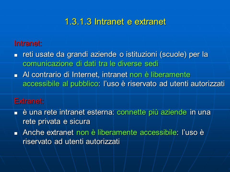 1.3.1.3 Intranet e extranet Intranet: reti usate da grandi aziende o istituzioni (scuole) per la comunicazione di dati tra le diverse sedi reti usate