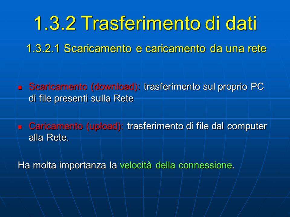 1.3.2.1 Scaricamento e caricamento da una rete 1.3.2 Trasferimento di dati Scaricamento (download): trasferimento sul proprio PC di file presenti sull