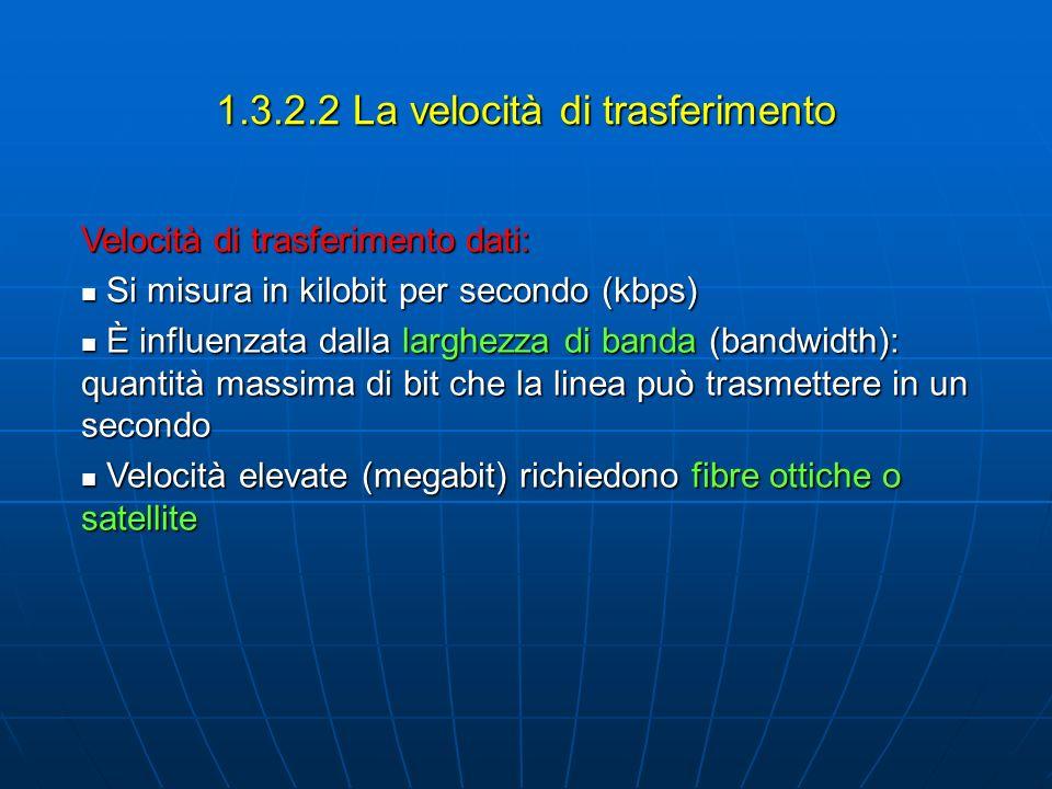 1.3.2.2 La velocità di trasferimento Velocità di trasferimento dati: Si misura in kilobit per secondo (kbps) Si misura in kilobit per secondo (kbps) È