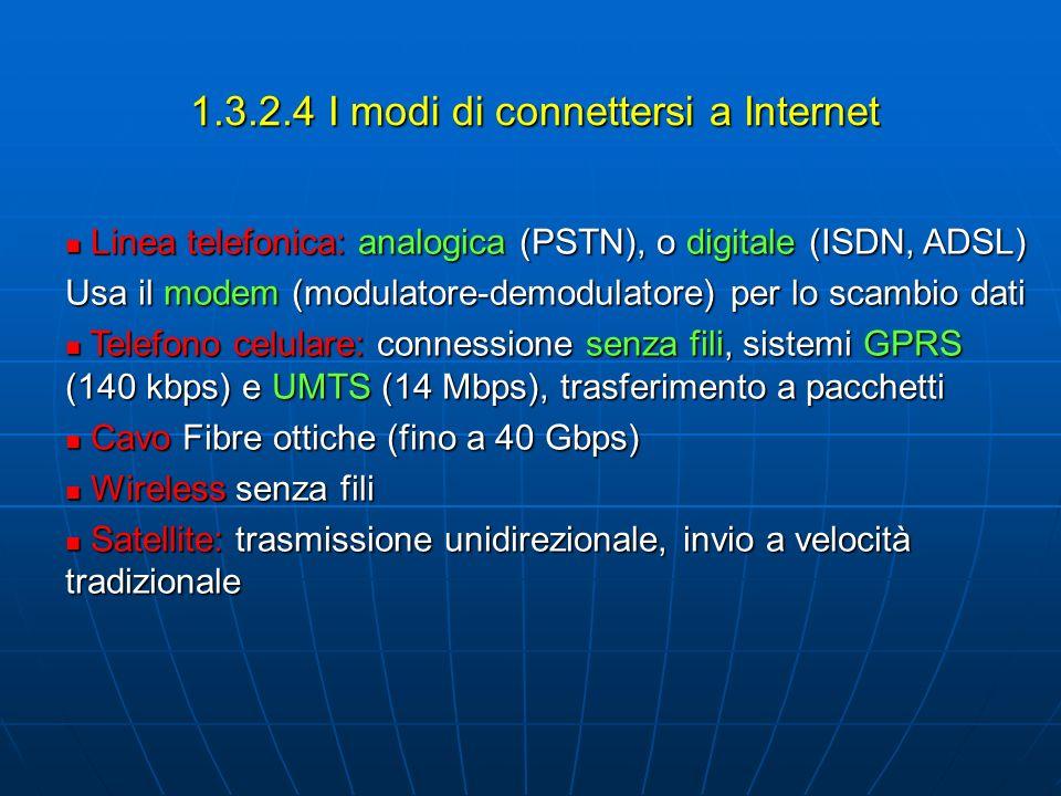 1.3.2.4 I modi di connettersi a Internet Linea telefonica: analogica (PSTN), o digitale (ISDN, ADSL) Linea telefonica: analogica (PSTN), o digitale (I