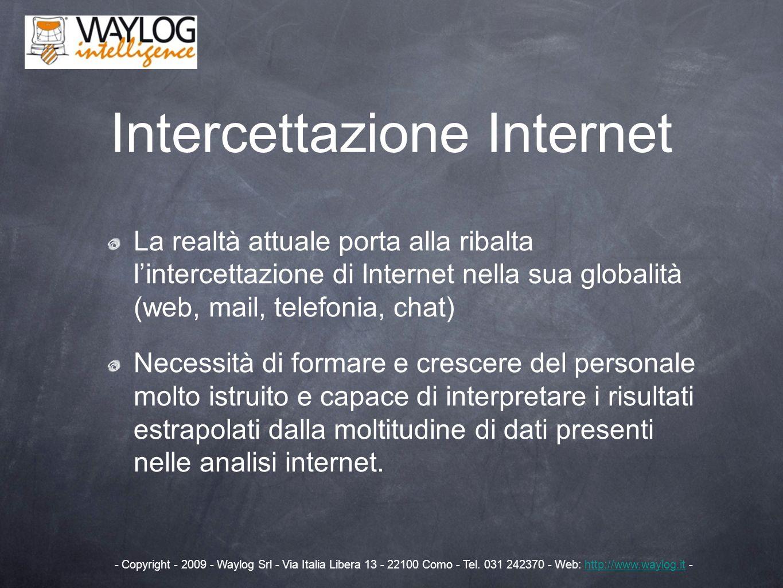 Intercettazione Internet La realtà attuale porta alla ribalta lintercettazione di Internet nella sua globalità (web, mail, telefonia, chat) Necessità