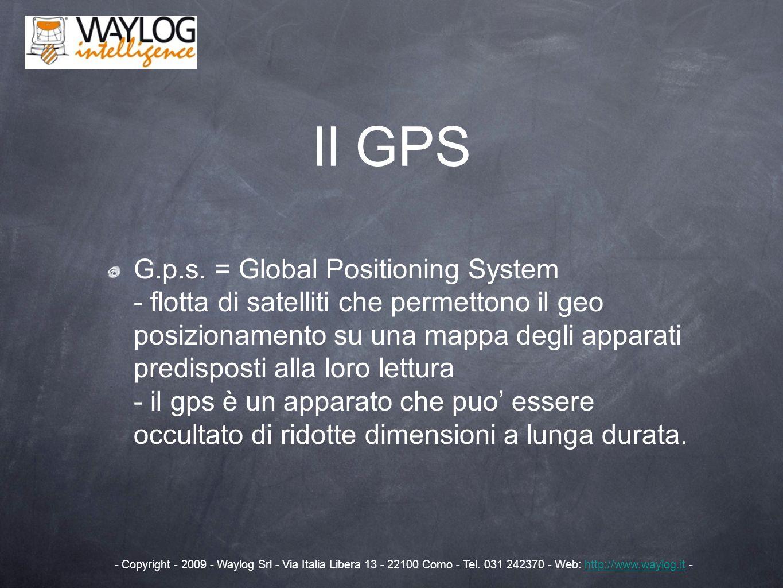 Il GPS G.p.s. = Global Positioning System - flotta di satelliti che permettono il geo posizionamento su una mappa degli apparati predisposti alla loro