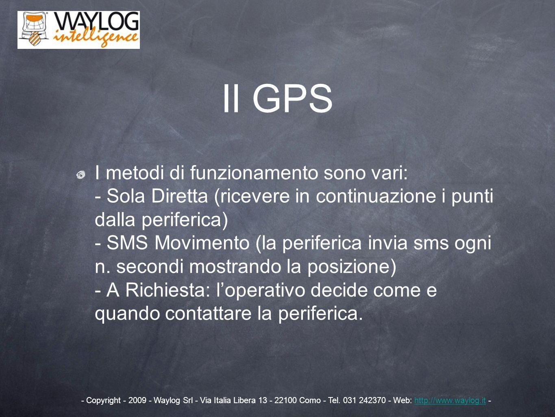 I metodi di funzionamento sono vari: - Sola Diretta (ricevere in continuazione i punti dalla periferica) - SMS Movimento (la periferica invia sms ogni