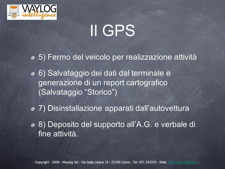 Il GPS 5) Fermo del veicolo per realizzazione attività 6) Salvataggio dei dati dal terminale e generazione di un report cartografico (Salvataggio Stor