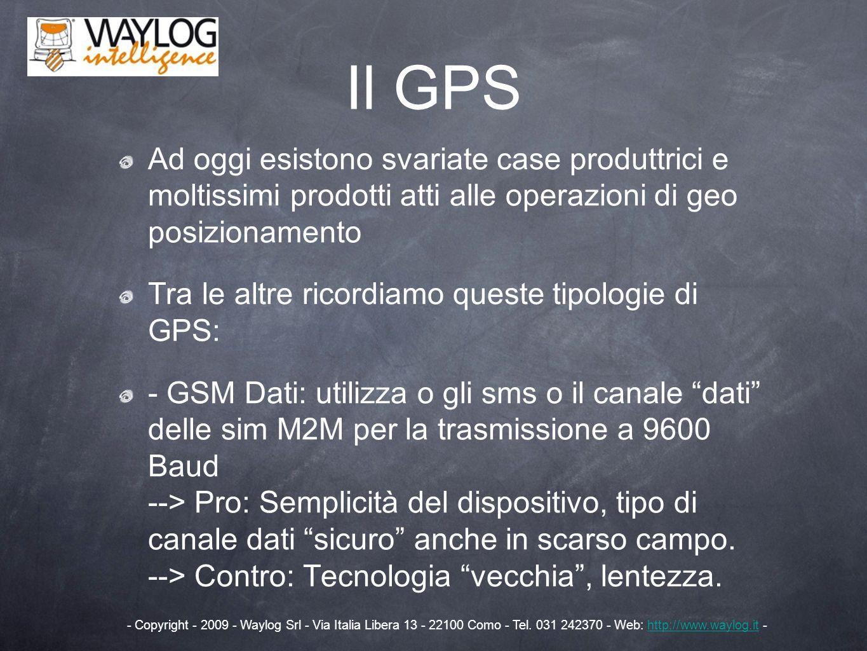 Il GPS Ad oggi esistono svariate case produttrici e moltissimi prodotti atti alle operazioni di geo posizionamento Tra le altre ricordiamo queste tipo