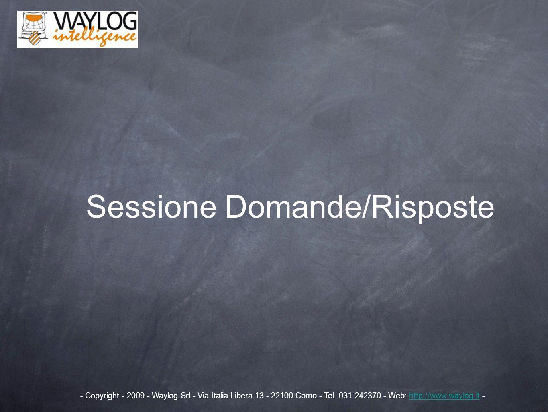 Sessione Domande/Risposte - Copyright - 2009 - Waylog Srl - Via Italia Libera 13 - 22100 Como - Tel. 031 242370 - Web: http://www.waylog.it -http://ww
