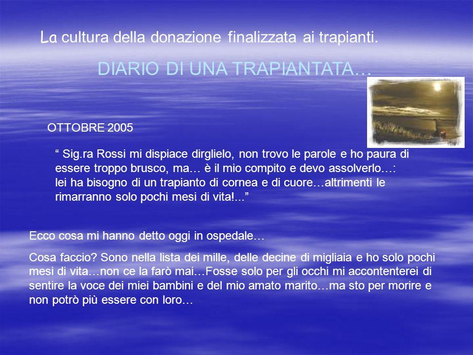 La cultura della donazione finalizzata ai trapianti. DIARIO DI UNA TRAPIANTATA… OTTOBRE 2005 Sig.ra Rossi mi dispiace dirglielo, non trovo le parole e