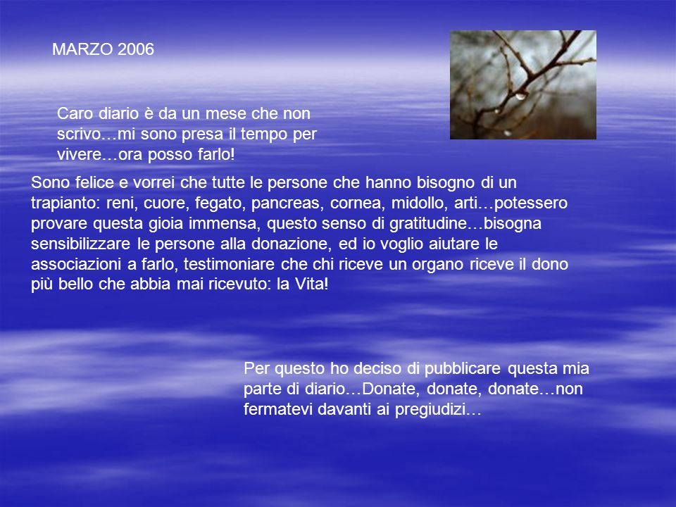 MARZO 2006 Caro diario è da un mese che non scrivo…mi sono presa il tempo per vivere…ora posso farlo! Sono felice e vorrei che tutte le persone che ha