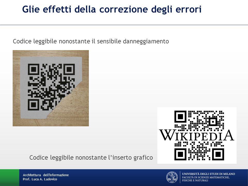 Codice leggibile nonostante il sensibile danneggiamento Codice leggibile nonostante linserto grafico Glie effetti della correzione degli errori Archit