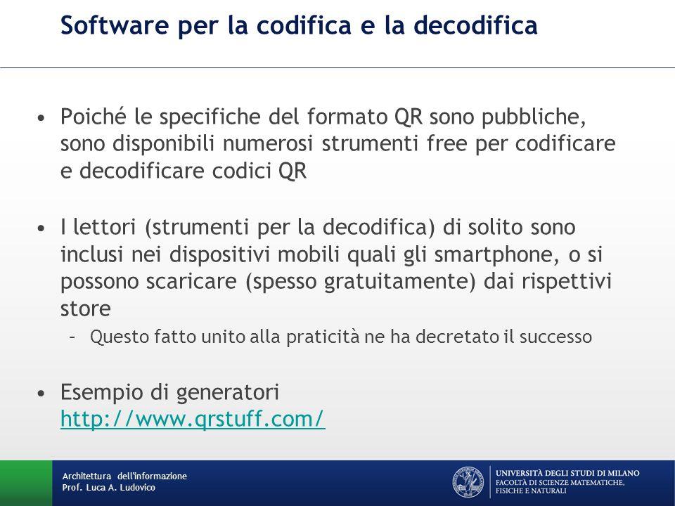 Poiché le specifiche del formato QR sono pubbliche, sono disponibili numerosi strumenti free per codificare e decodificare codici QR I lettori (strume
