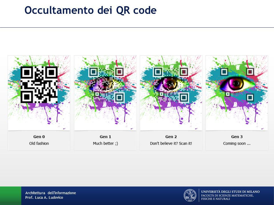 Occultamento dei QR code Architettura dell'informazione Prof. Luca A. Ludovico