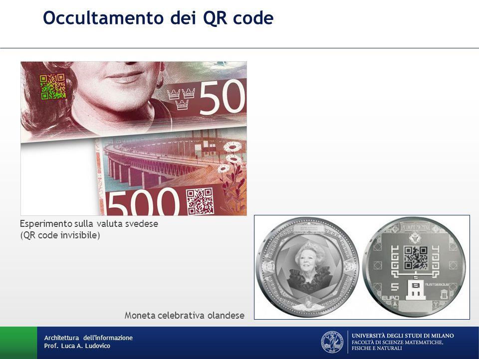 Occultamento dei QR code Architettura dell'informazione Prof. Luca A. Ludovico Esperimento sulla valuta svedese (QR code invisibile) Moneta celebrativ
