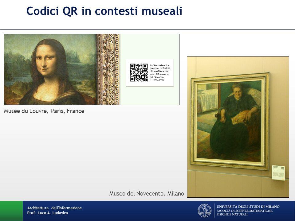 Codici QR in contesti museali Architettura dell'informazione Prof. Luca A. Ludovico Musée du Louvre, Paris, France Museo del Novecento, Milano