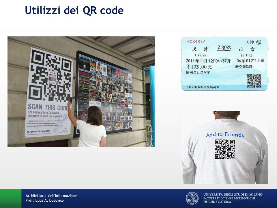 Utilizzi dei QR code Architettura dell'informazione Prof. Luca A. Ludovico