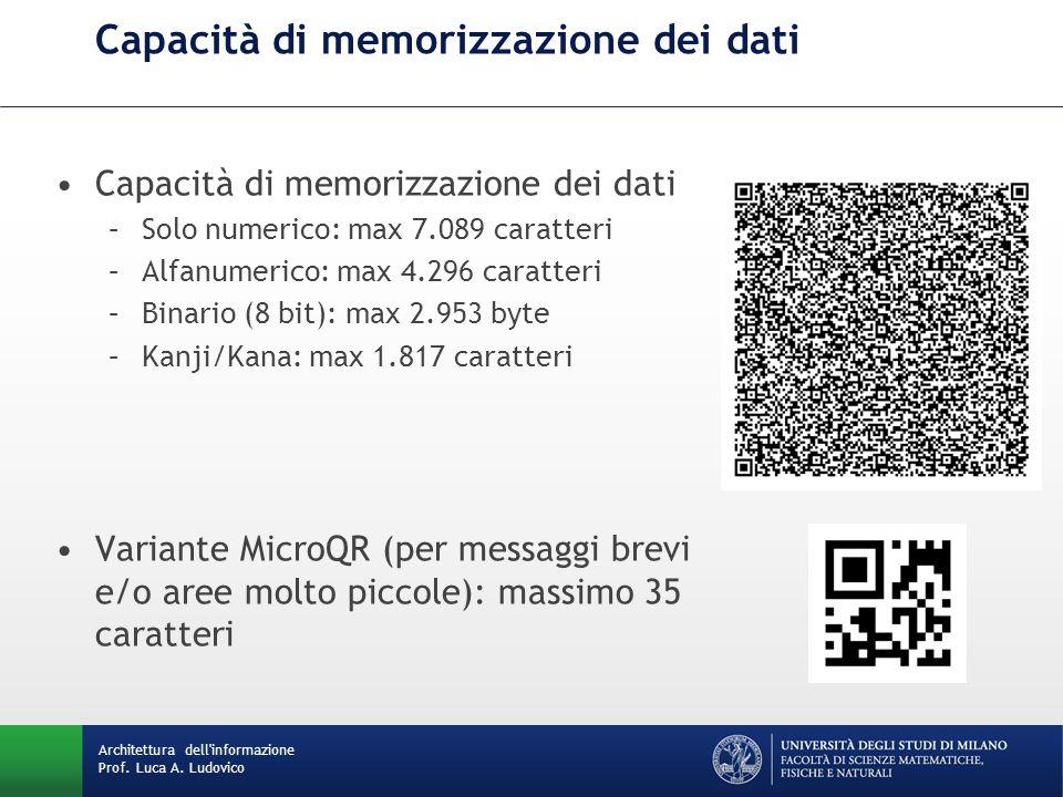 Capacità di memorizzazione dei dati –Solo numerico: max 7.089 caratteri –Alfanumerico: max 4.296 caratteri –Binario (8 bit): max 2.953 byte –Kanji/Kan