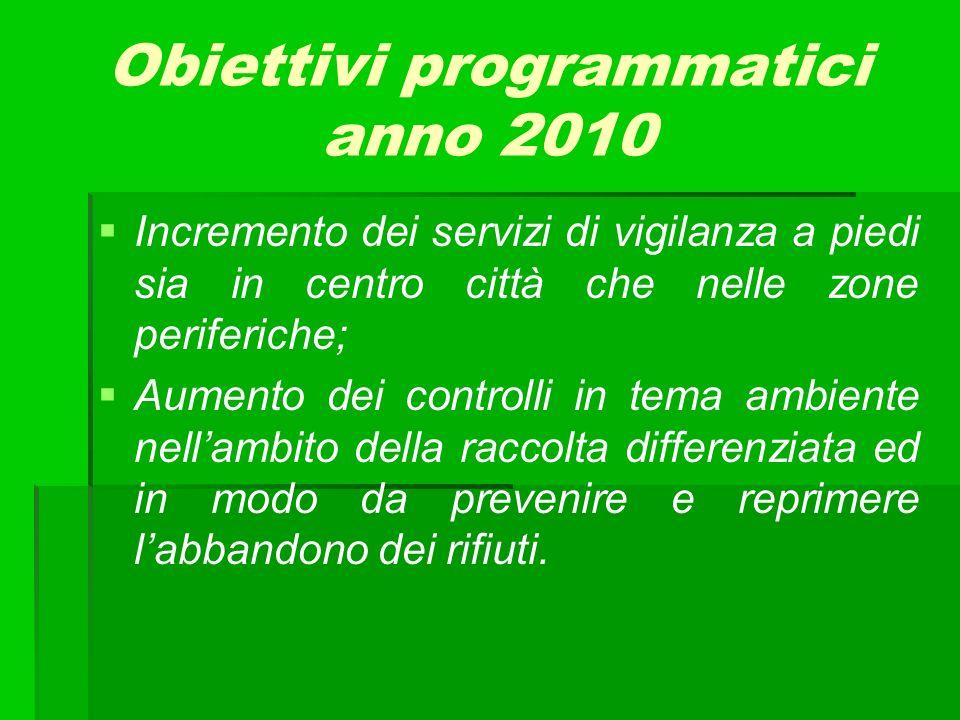 Obiettivi programmatici anno 2010 Incremento dei servizi di vigilanza a piedi sia in centro città che nelle zone periferiche; Aumento dei controlli in